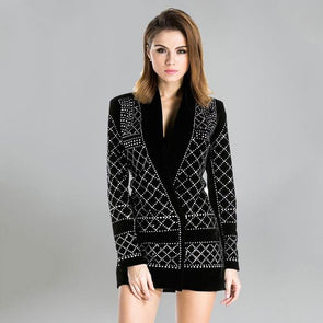 V-Neck Long-sleeved Geometric Studded Velvet Blazer