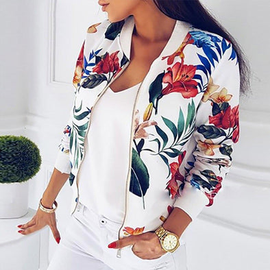 Retro Floral Printed Long Sleeve Zipper Bomber Jacket