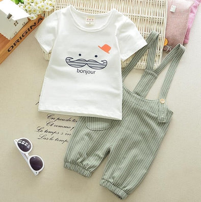 Cotton Cute Beard T-shirt & Striped Pants