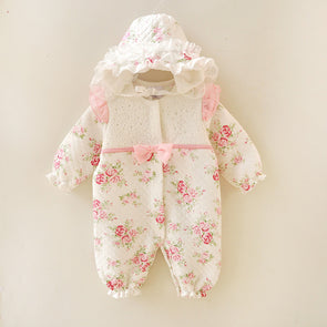 Winter Newborn Girl Thick Floral Jumpsuit