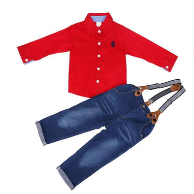 2-Piece Autumn Red Shirt & Jeans Overall