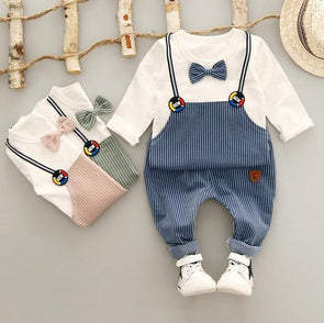 Cotton Bowknot T-shirt & Stripe Set