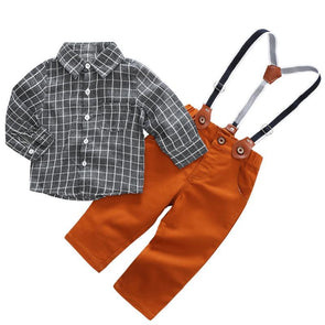 2-Piece Cotton Plaid Shirt & Pants Set