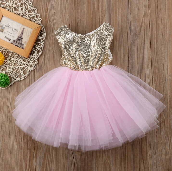 997620b8b8a93 Sequined Top Pink Tutu Tulle Dress