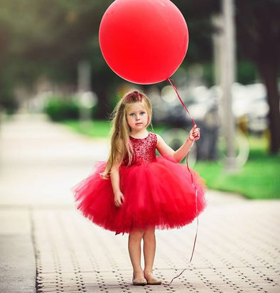 Sequined Top Red Tutu Tulle Dress