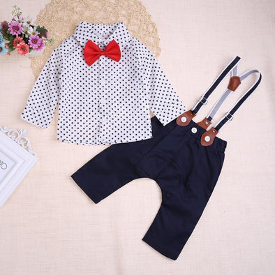 3-Piece Long Sleeve Dots Top Shirt & Bib Pants