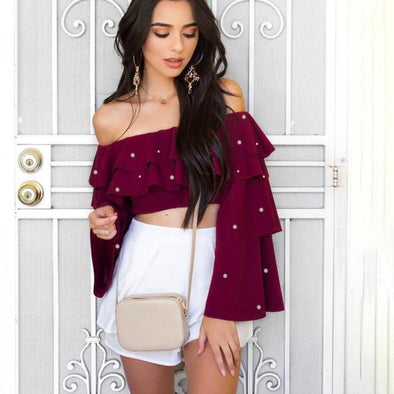 Off Shoulder Cropped Chiffon Blouse