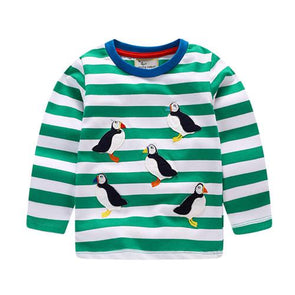 Autumn Striped Duck Cotton T-shirt