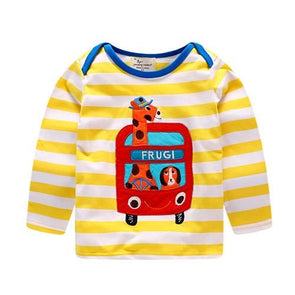 Autumn Striped Giraffe Cotton T-shirt