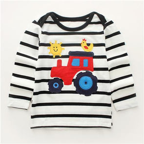 Autumn Striped Rooster Cotton T-shirt