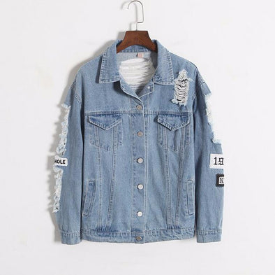 Korea Kpop Retro Frayed Embroidery Letter Patch Bomber Jacket