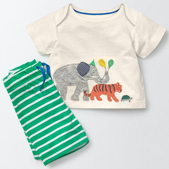 2-Piece Animal Print T-Shirt & Shorts Set