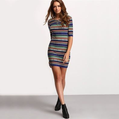 Stripe Club Multicolor Vintage Print Round Neck Dress