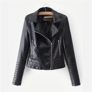 Plain Black PU Leather Turn-down Collar Biker Jacket