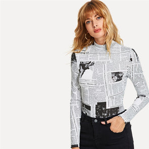 Black And White Casual Newspaper Print Top