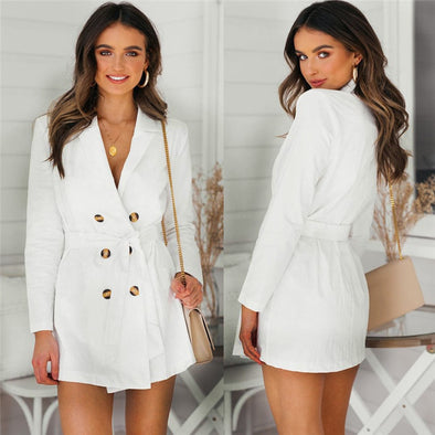 Long Sleeve Lace Up High Waist Button Trench Coat