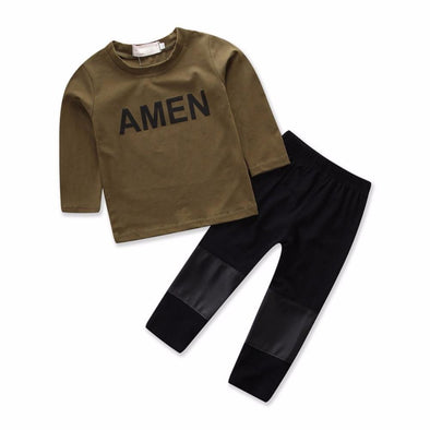 2-Piece T-Shirt and Black Pants Set