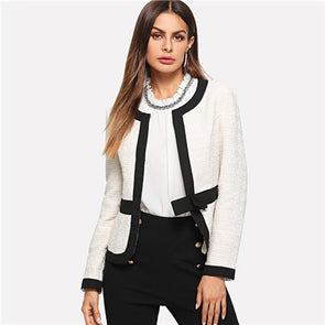 Bow Front White Blazer Female Workwear Blazer
