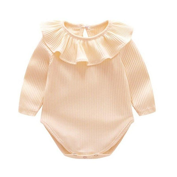 Cotton Long Sleeve Ruffled Autumn Onesie