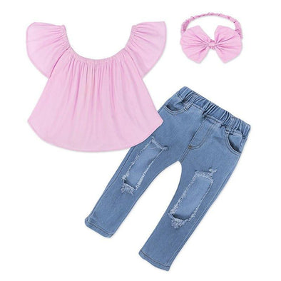 Pink Top and Jeans Set