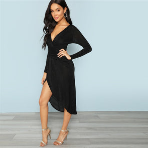Black Plunging Neck Wrap Split Front Dress