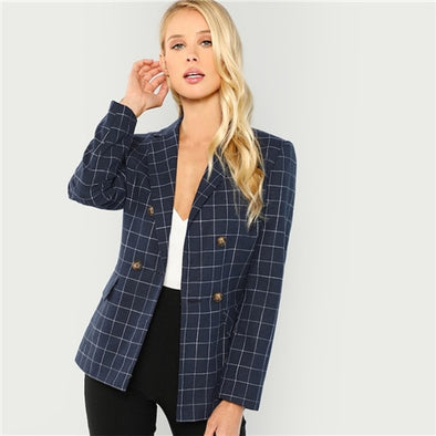 Cotton Elegant Notched Neck Plaid Double Breasted Blazer