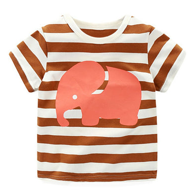 Striped Elephant Cotton T-shirt