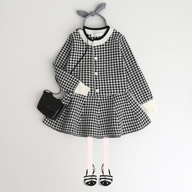 2-Piece Plaid Long Sleeve Top and Skirt Set