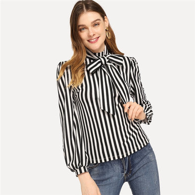 Black and White Stand Collar Tie Neck Striped Top