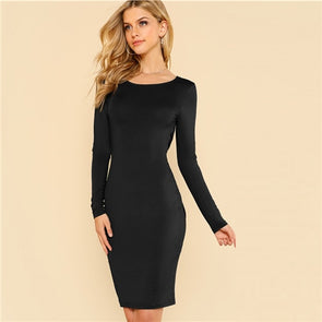 Black Solid Backless Split Twist Dress