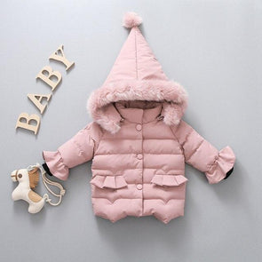 Winter Fur Collar Hooded Coat
