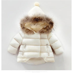 Snow White Fur Collar Hooded Coat