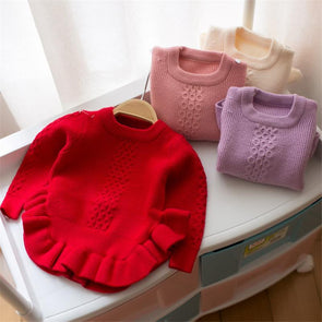 Ruffle Ruched Solid Color Pullover