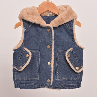 Hooded Denim Winter Vest