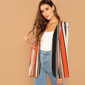 Casual Open Front Striped Cape Cloak Sleeve Coat