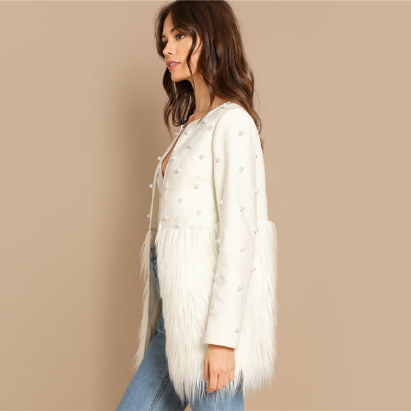 White Pearl Embellished Faux Fur Coat