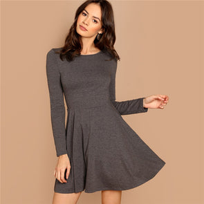 Grey Fit and Flare Heathered Knit Dress