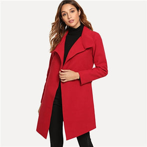 Red Self Tie Solid Trench Coat