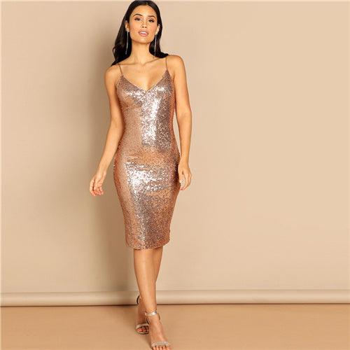 Pink Sequin Cami Spaghetti Strap Knee Length Corset Sheath Dress