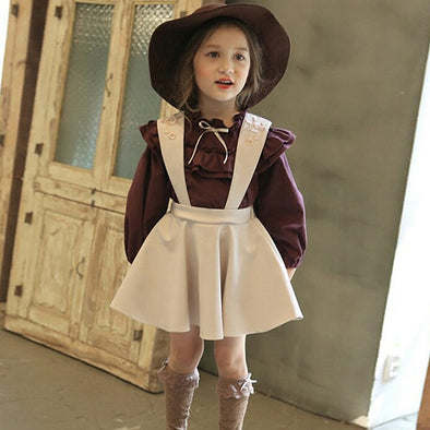 2-Piece Embroidery Suspender Dress