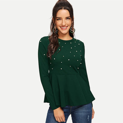 Modern Lady Green Pearls Beaded Solid Peplum Round Neck Top