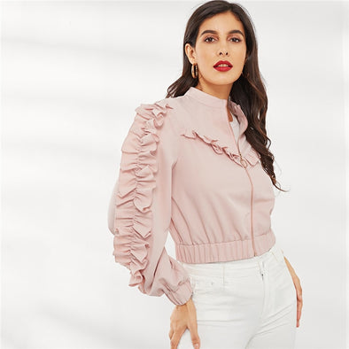 Pink Solid O-Ring Zip Up Ruffle Trim Jacket
