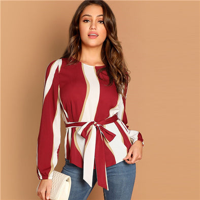 Burgundy Self Belted Striped Scoop Neck Shirt