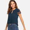 Navy Cutout Lace Contrast Cap Sleeve Button Plain Top
