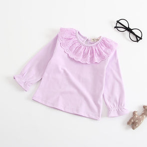 Casual Lace Cotton T-shirt