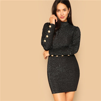 Black Leg-of-Mutton Sleeve Mock-Neck Stand Collar Glitter Solid Dress