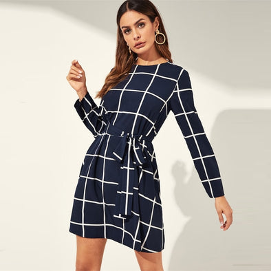 Navy Plaid Round Neck Fit And Flare Belted Grid Short Dress