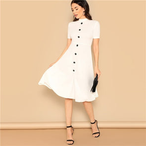 White Button Front Mock-neck Solid Dress