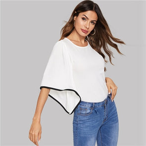 White Contrast Binding Round Neck Blouse