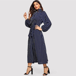 Navy Tie Neck Raglan Lantern Sleeve Striped Frill Long Dress
